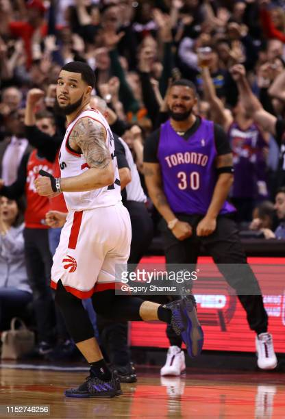 Fred VanVleet of the Toronto Raptors reacts against the Golden State Warriors in the fourth quarter during Game One of the 2019 NBA Finals at...