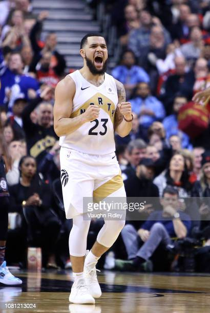 Fred VanVleet of the Toronto Raptors reacts during the second half of an NBA game against the Brooklyn Nets at Scotiabank Arena on January 11 2019 in...