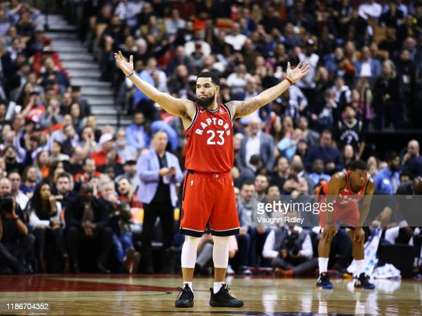 Fred VanVleet of the Toronto Raptors reacts during the second half of an NBA game against the Houston Rockets at Scotiabank Arena on December 05 2019...