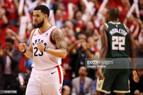 Fred VanVleet of the Toronto Raptors reacts during the second half against the Milwaukee Bucks in game four of the NBA Eastern Conference Finals at...