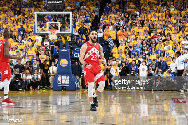Fred VanVleet of the Toronto Raptors reacts to a play during Game Six of the NBA Finals against the Golden State Warriors on June 13 2019 at ORACLE...
