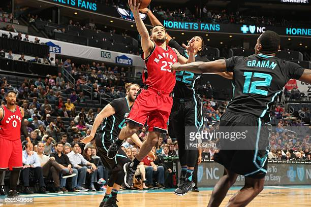 Fred VanVleet of the Toronto Raptors shoots the ball against the Charlotte Hornets on January 20 2017 at Spectrum Center in Charlotte North Carolina...
