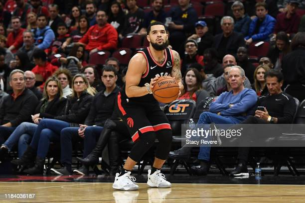 Fred VanVleet of the Toronto Raptors takes a three point shot during a game against the Chicago Bulls at United Center on October 26 2019 in Chicago...