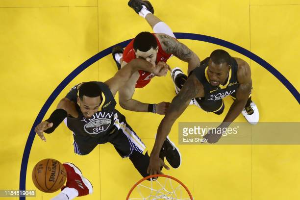 Fred VanVleet of the Toronto Raptors takes an elbow from Shaun Livingston of the Golden State Warriors in the second half during Game Four of the...