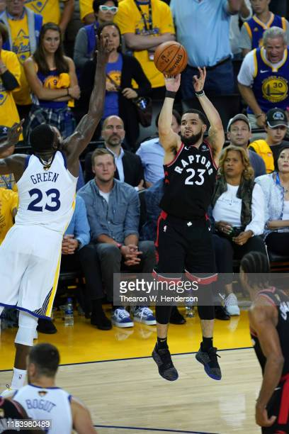 Fred VanVleet of the Toronto Raptorsattempts a shot against the Golden State Warriors in the second half during Game Three of the 2019 NBA Finals at...
