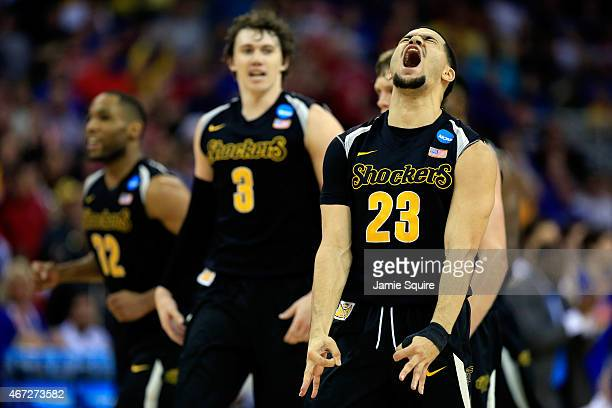 Fred VanVleet of the Wichita State Shockers reacts after hitting a threepointer against the Kansas Jayhawks in the first half during the third round...