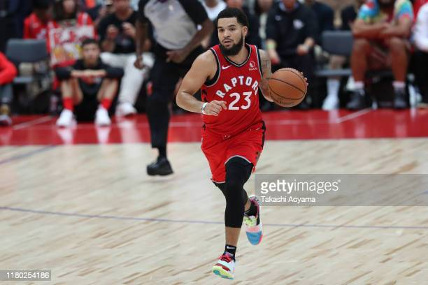Fred VanVleet of Toronto Raptors dribbles the ball during the preseason game between Toronto Raptors and Houston Rockets at Saitama Super Arena on...