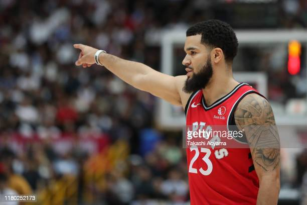 Fred VanVleet of Toronto Raptors gestures during the preseason game between Toronto Raptors and Houston Rockets at Saitama Super Arena on October 10...