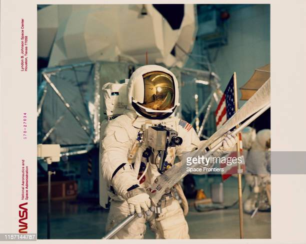 Fred W Haise Jr Lunar Module Pilot on the planned Apollo 13 lunar landing mission simulates lunar surface EVA during training exercises in the...