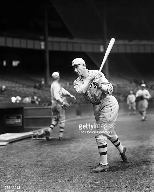 Fred W Schulte of the St Louis Browns swinging a bat in 1927