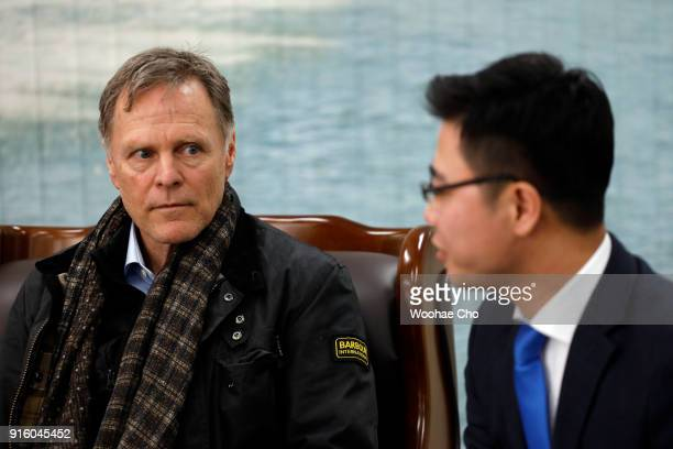 Fred Warmbier the father of Otto warmbier who was imprisoned in North Korea for 17 months listens to Ji Seongho North Korean defector at the meeting...