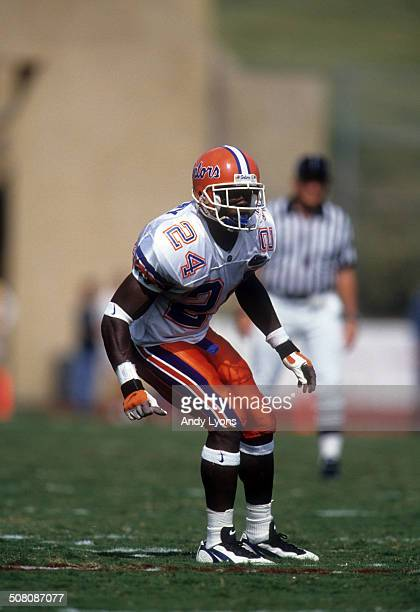 Fred Weary of the Florida Gators defends against the Arkansas Razorbacks on October 5 1996 at Razorback Stadium in Fayetteville Arkansas The Gators...
