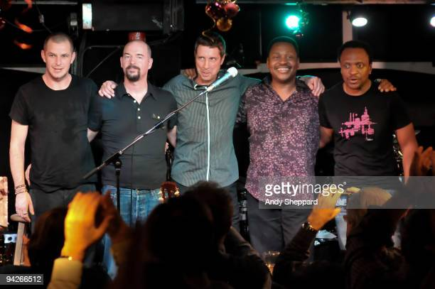 Fred White Miles Gilderdale Greg Carmichael Gary Grainger and Greg Grainger of Acoustic Alchemy perform on stage at Pizza Express Live Soho on...