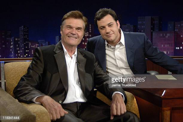 Fred Willard and Host Jimmy Kimmel on the Jimmy Kimmel Live show on ABC Photo by Jamie Trueblood/WireImagecom/ABC