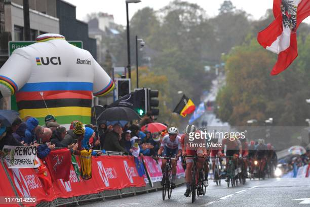 Fred Wright of The United Kingdon / Morten Hulgaard of Denmark / Peloton / Rain / Fans / Public / during the 92nd UCI Road World Championships 2019...