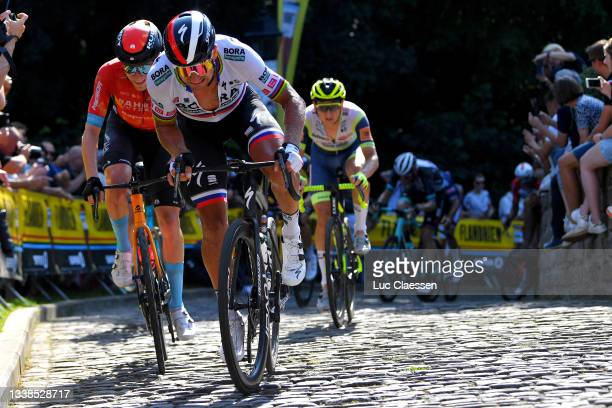 Fred Wright of United Kingdom and Team Bahrain Victorious and Peter Sagan of Slovakia and Team Bora - Hansgrohe compete during the 17th Benelux Tour...