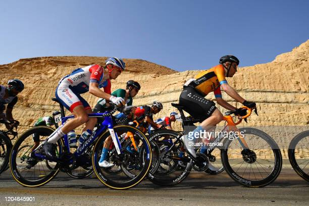 Fred Wright of United Kingdom and Team Bahrain-Mclaren / Romain Sicard of France and Team Total Direct Energie / Phil Bauhaus of Germany and Team...