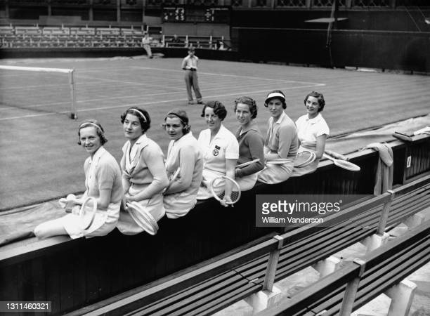 Freda James, Margaret Peggy Scriven, Jean Ingram, Phyllis Mudford King, Margot Lumb, Evelyn Dearman and Kay Stammers, members of the Great Britain...