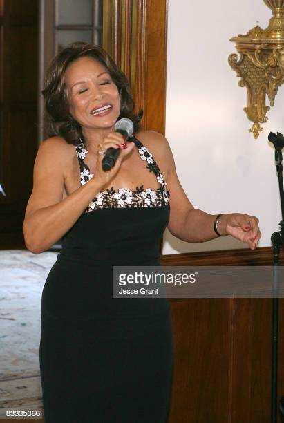 Freda Payne performs at the wedding of Michael Feinstein and Terrence Flannery held at a private residence on October 17 2008 in Los Angeles...