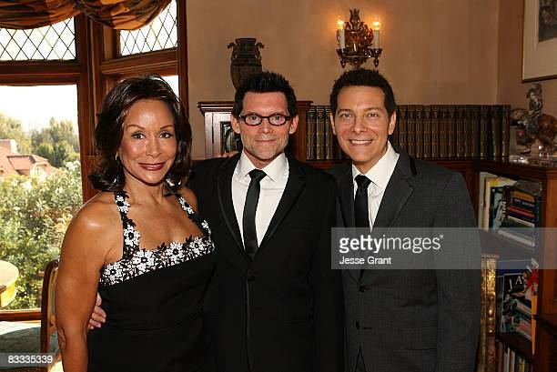Freda Payne poses with Michael Feinstein and Terrence Flannery during their wedding ceremony held at a private residence on October 17 2008 in Los...