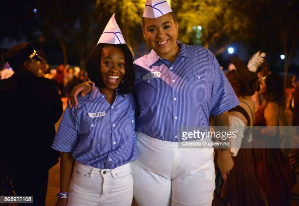 Freddie and Jazzmyne from Buzzfeed dressed as characters from Good Burger at the West Hollywood Halloween Carnaval on October 31 2017 in West...