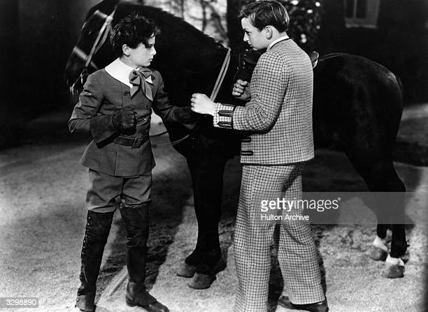 Freddie Bartholomew and Jackie Searl prepare to fight in a scene from 'Little Lord Fauntleroy' adapted from the novel by Frances Hodgson Burnett The...