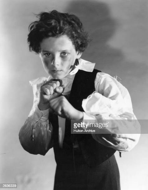 Freddie Bartholomew in fighting stance as Little Lord Fauntleroy in a scene from the film of the same name The movie was directed by John Cromwell...