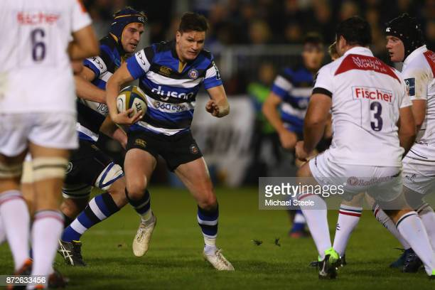 Freddie Burns of Bath runs at the Leicester defence during the AngloWelsh Cup Round 2 match between Bath Rugby and Leicester Tigers at the Recreation...