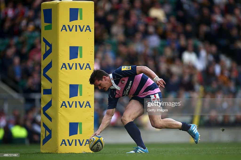 Freddie Burns of Gloucester scores a try during the Aviva Premiership match between London Wasps and Gloucester at Twickenham Stadium on April 19, 2014 in London, England.