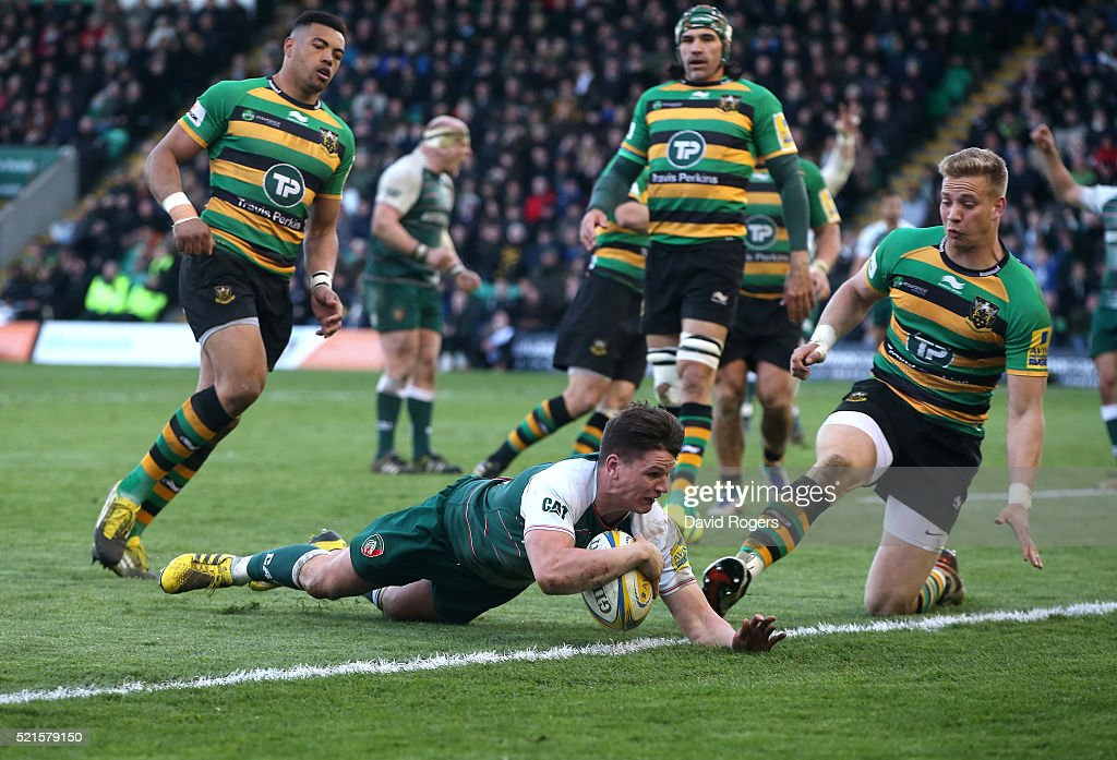 Freddie Burns of Leicester dives over for a try during the Aviva Premiership match between Northampton Saints and Leicester Tigers at Franklin's Gardens on April 16, 2016 in Northampton, England.