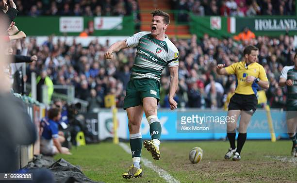 Freddie Burns of Leicester Tigers celebrates scoring a try during the Aviva Premiership match between Leicester Tigers and Saracens at Welford Road...