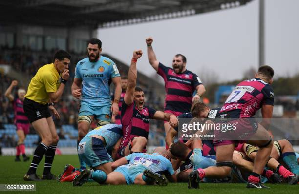 Freddie Clarke of Gloucester Rugby and Fraser Balmain of Gloucester Rugby celebrate Gerbrandt Grobler of Gloucester Rugby's try during the Heineken...