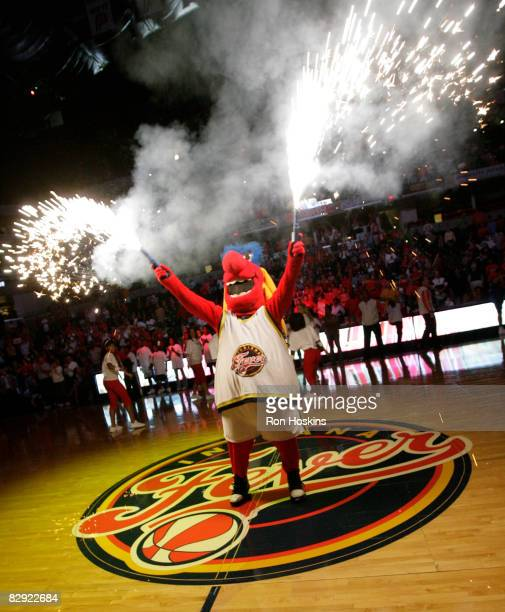 Freddie Fever mascot for the Indiana Fever fires up the crowd prior to the Fever taking on the Detroit Shock in Game One of the Eastern Conference...