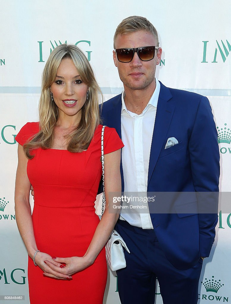 Freddie Flintoff (R) and Rachael Flintoff arrive at the 2016 Australian Open party at Crown Entertainment Complex on January 17, 2016 in Melbourne, Australia.