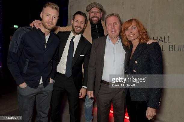 Freddie Flintoff Jamie Redknapp Tom Davis Harry Redknapp and Sandra Harris attend the Sky TV Up Next Event at Tate Modern on February 12 2020 in...