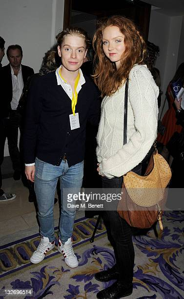 Freddie Fox and Lily Cole attend the 24 Hour Plays Celebrity Gala Party at the Corinthia Hotel London on November 13 2011 in London England