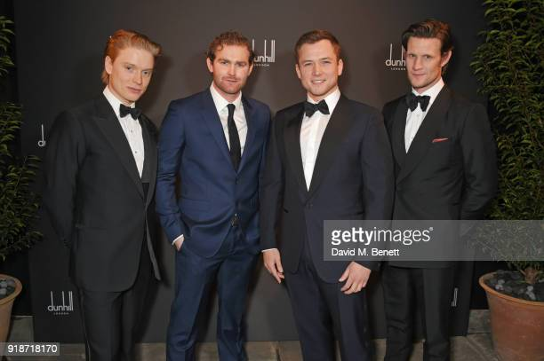 Freddie Fox Mark Stanley Taron Egerton and Matt Smith attend the Dunhill GQ preBAFTA filmmakers dinner and party cohosted by Andrew Maag Dylan Jones...
