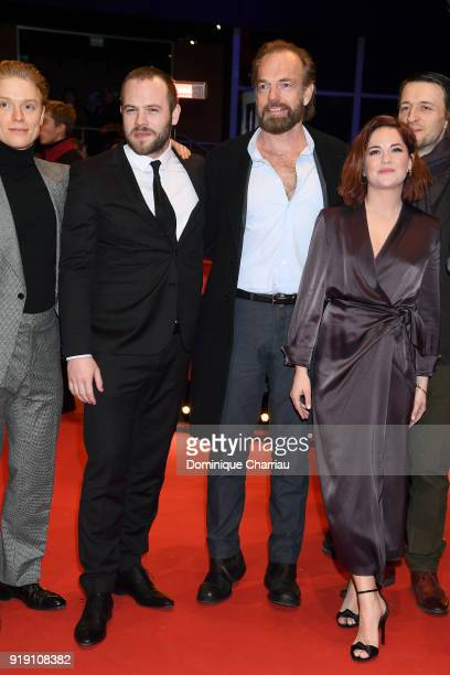 Freddie Fox Moe Dunford Hugo Weaving Sarah Greene and Lance Daly attend the 'Black 47' premiere during the 68th Berlinale International Film Festival...