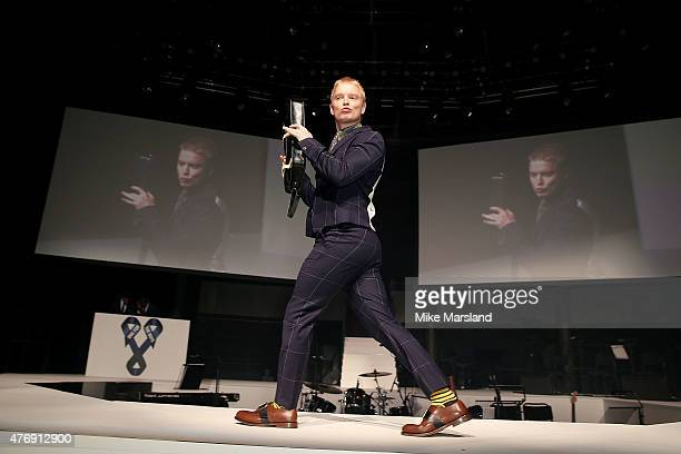 Freddie Fox on the catwalk during One For The Boys Fashion Ball hosted by Samuel L Jackson uniting men against cancer to kick start London...