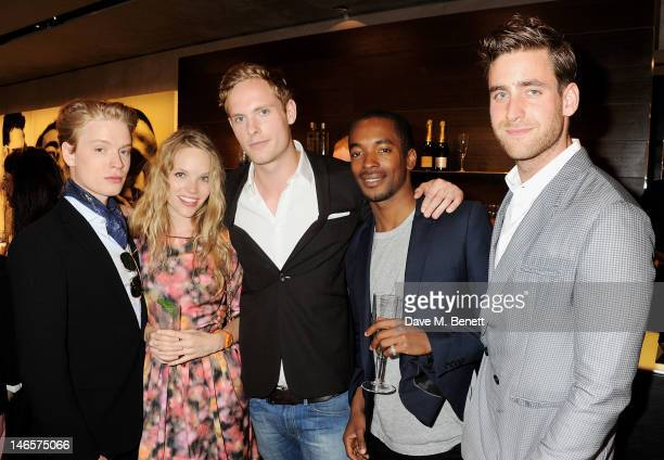 Freddie Fox Tamzin Merchant Jack Fox guest and Oliver JacksonCohen attend as EA7 Emporio Armani Summer Garden Live presents Summer of Sport at...