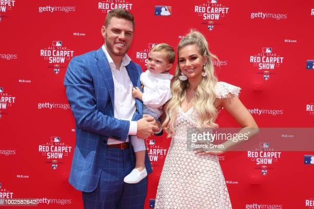 Freddie Freeman of the Atlanta Braves and the National League attends the 89th MLB AllStar Game presented by MasterCard red carpet with guests at...