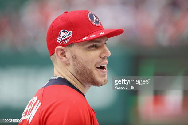 Freddie Freeman of the Atlanta Braves and the National League looks on during Gatorade AllStar Workout Day at Nationals Park on July 16 2018 in...