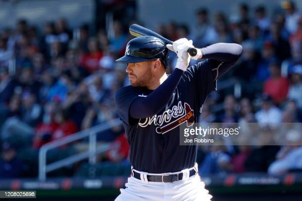 Freddie Freeman of the Atlanta Braves bats in the first inning of a Grapefruit League spring training game against the Baltimore Orioles at CoolToday...