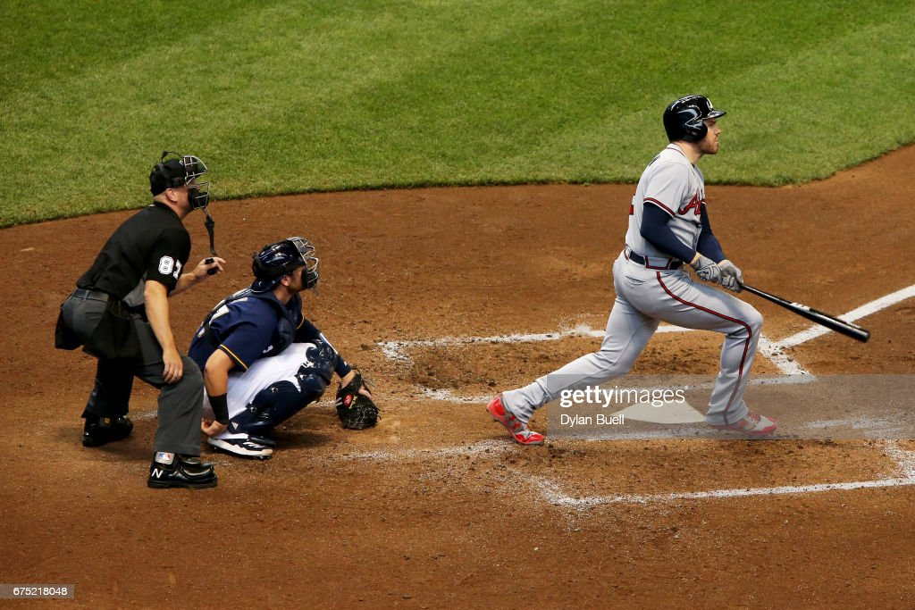 Freddie Freeman #5 of the Atlanta Braves hits a home run in the sixth inning against the Milwaukee Brewers at Miller Park on April 30, 2017 in Milwaukee, Wisconsin.