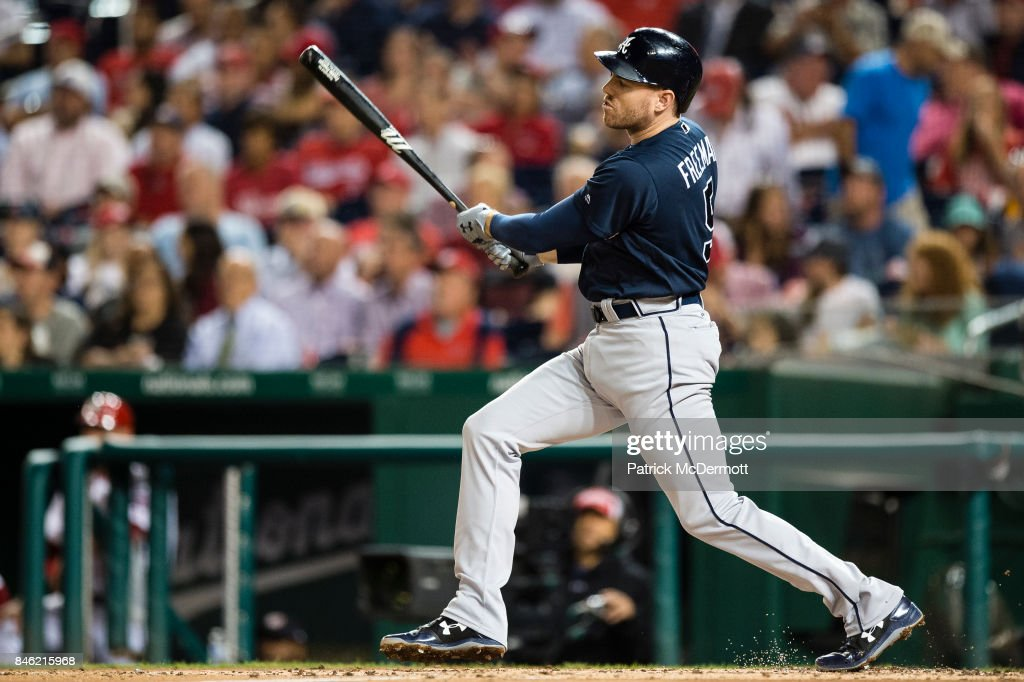 Freddie Freeman #5 of the Atlanta Braves hits a three-run home run in the third inning against the Washington Nationals at Nationals Park on September 12, 2017 in Washington, DC.