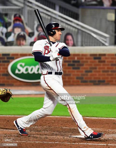 Freddie Freeman of the Atlanta Braves hits a two-run fourth inning home run against the Washington Nationals at Truist Park on August 18, 2020 in...