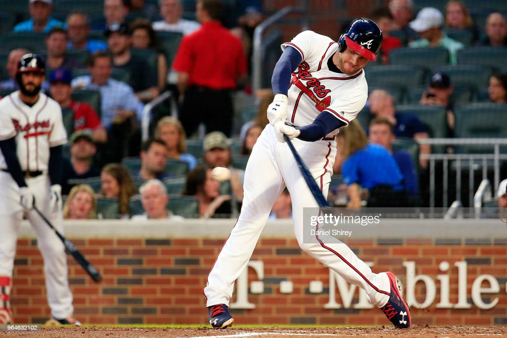 Freddie Freeman #5 of the Atlanta Braves hits an RBI double during the third inning against the Washington Nationals at SunTrust Park on May 31, 2018 in Atlanta, Georgia.