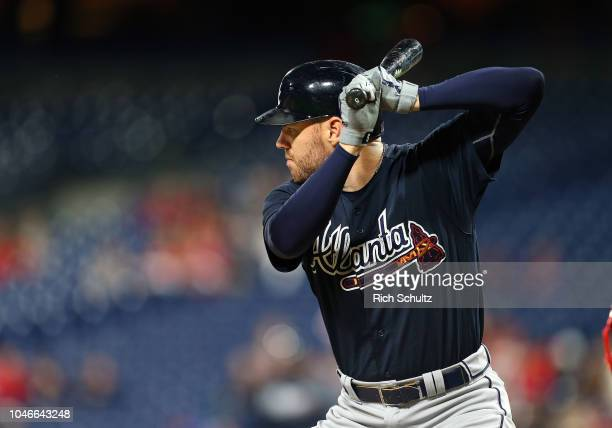 Freddie Freeman of the Atlanta Braves in action against the Philadelphia Phillies during a game at Citizens Bank Park on September 28 2018 in...