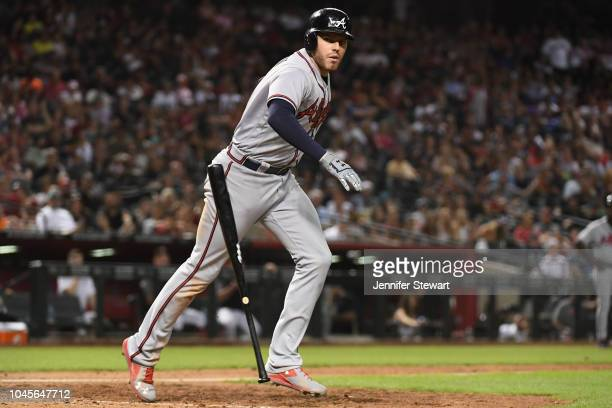 Freddie Freeman of the Atlanta Braves is walked in the tenth inning of the MLB game against the Arizona Diamondbacks at Chase Field on September 8...