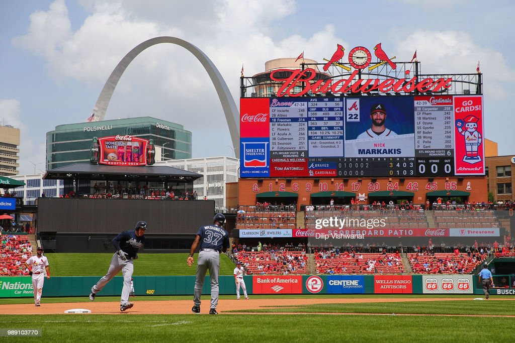 Freddie Freeman #5 of the Atlanta Braves rounds third base after hitting a two-run home run against the St. Louis Cardinals in the sixth inning at Busch Stadium on July 1, 2018 in St. Louis, Missouri.